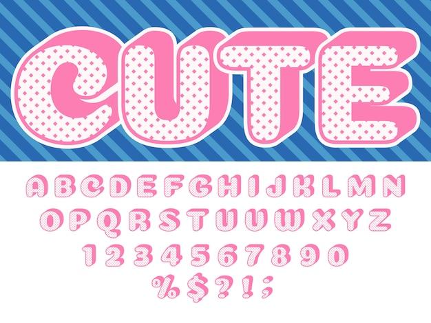 Meisjes pop lettertype, roze prinses verrassing, lol grappige kind letters en retro gestippelde textuur alfabet baby meisje poppen geïsoleerde set