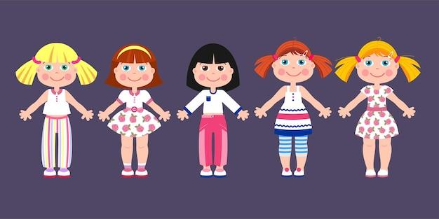 Meisjes poppen. set van verschillende vector poppen.