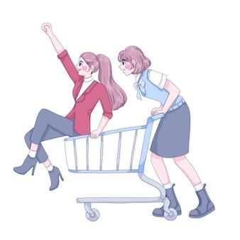 Meisjes rijden kar cartoon afbeelding.