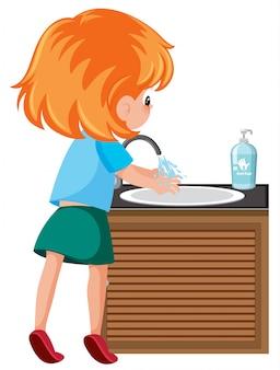 Meisjes schoonmakende handen