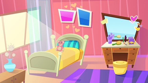 Meisjes slaapkamer interieur. home girls kamer met bed