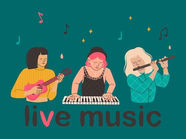 Meisjes spelen muziekinstrumenten fluit ukelele piano vrouwen muzikanten