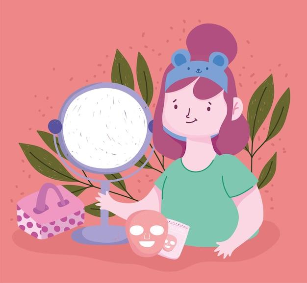 Meisjes spiegel gezichtsmasker biologisch