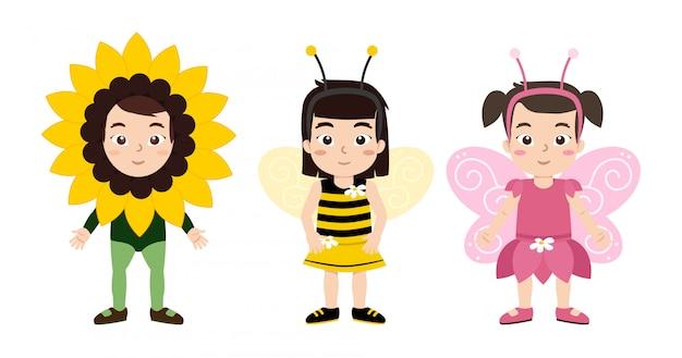 Meisjes springen in douane, bloem, bijen en vlinder kostuum