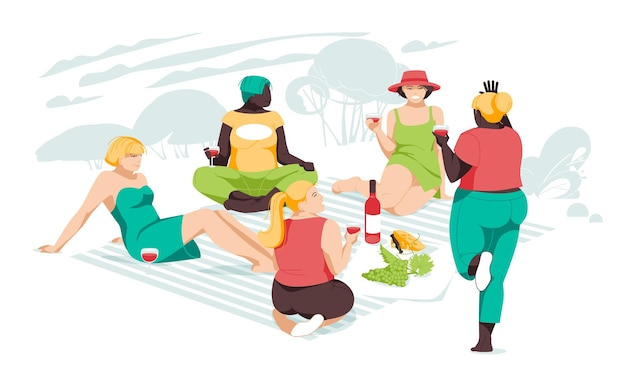 Meisjes van verschillende rassen en lichaamsbouw ontspannen samen op de picknick. vriendschap en relaties van vrouwen.