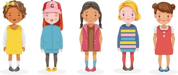 Meisjes vector set van kinderen. leuke cartoon verschillende en verschillende etnische groepen.