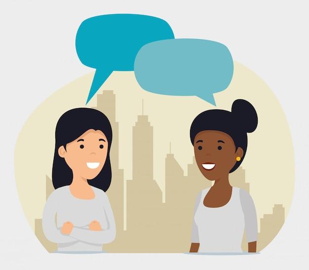 Meisjes vrienden met chat bubble bericht
