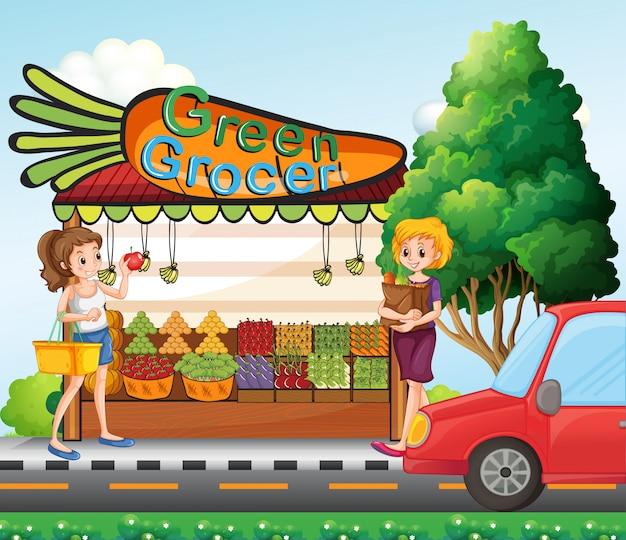 Meisjes winkelen voor verse ingrediënten