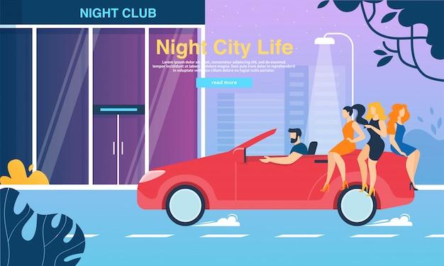 Meisjes zitten op trunk van red cabriolet night club