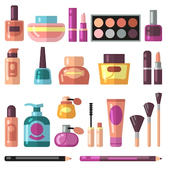 Meisjesaccessoires, schoonheid en make-up vlakke vectorpictogrammen.