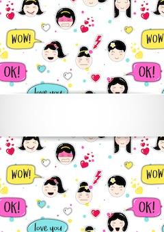 Meisjesachtergrond met anime-emojiavatars. leuke stickers met emoticon