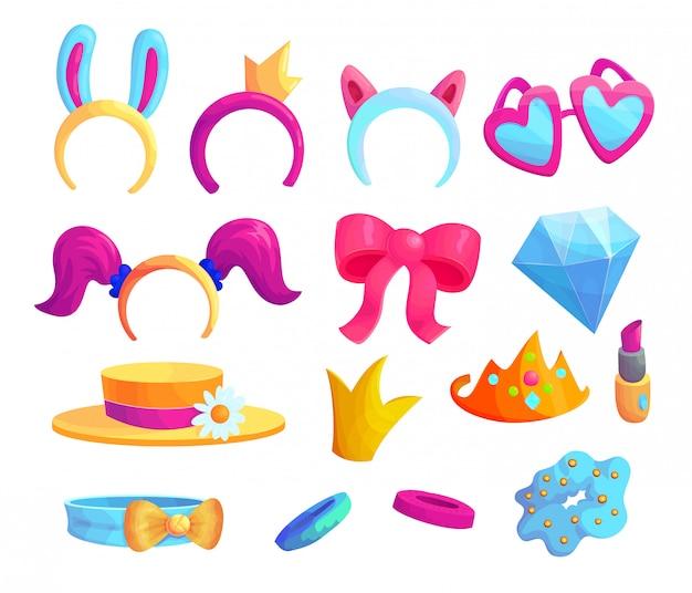 Meisjesachtig mode items cartoon vector stickers set. leuke vrouwelijke accessoires icoon collectie. stijlvolle prinses patches bundel geïsoleerd op een witte achtergrond. schoonheid en glamour ontwerpelementen