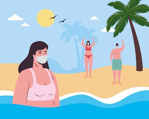 Meisjesbeeldverhaal met bikini en medisch masker bij het overzees en mensen bij strand vectorontwerp