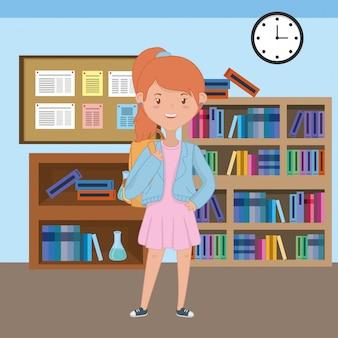 Meisjesbeeldverhaal van schoolontwerp