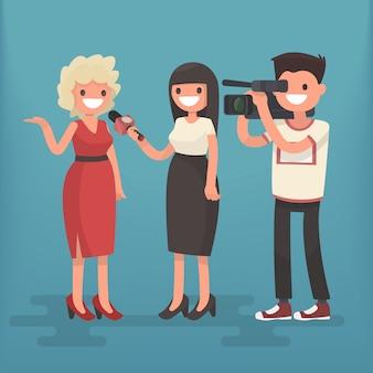 Meisjescorrespondent interviewt de vrouw. werkgelegenheid televisiejournalist