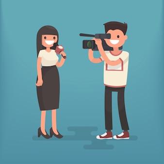 Meisjescorrespondent met een cameraman. werkgelegenheid televisiejournalist