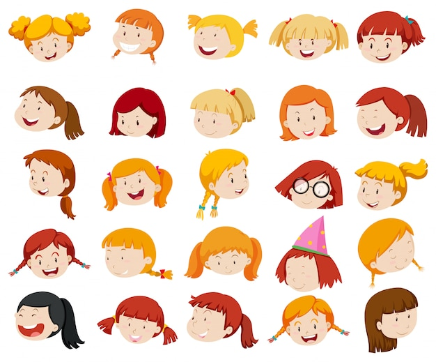 Meisjesgezicht met grote glimlach