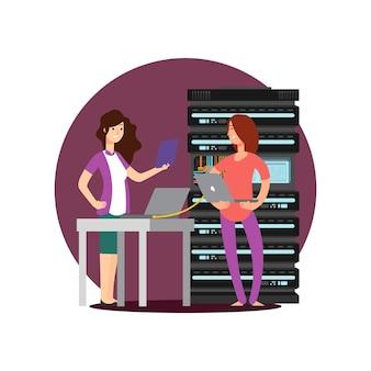 Meisjesingenieur, technicus die in serverruimte werkt. digitale computercentrum ondersteuning vectorillustratie