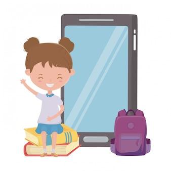 Meisjesjong geitje van school en smartphoneontwerp