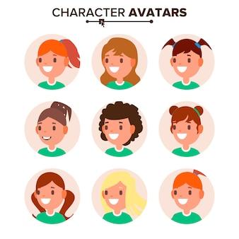 Meisjeskarakter avatar set.