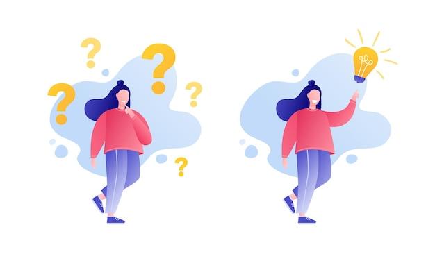 Meisjeskarakter dat vragen stelt