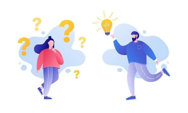 Meisjeskarakter die vragen stellen brainstormconcept problemen oplossen
