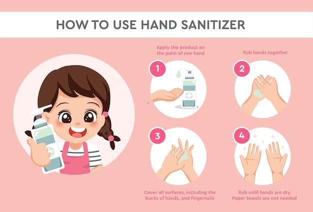 Meisjeskarakter laat zien hoe handdesinfecterend middel op de juiste manier wordt gebruikt om handen te reinigen en te desinfecteren, medische infographic vector, preventie van epidemieën en coronair syndroom of covid-19