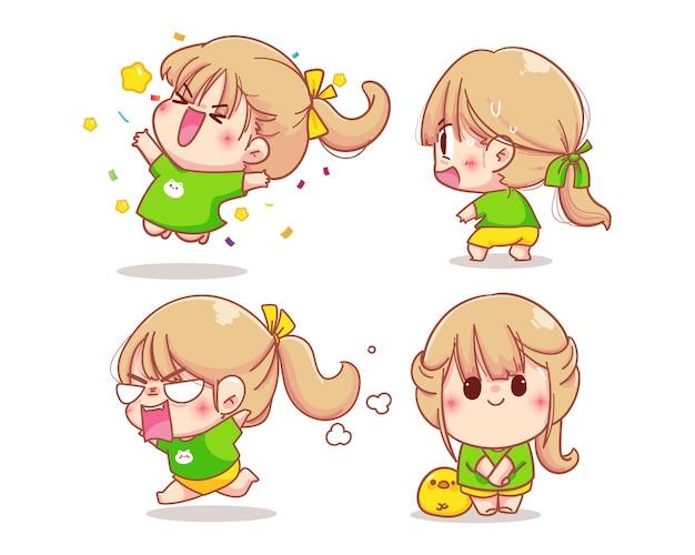 Meisjeskarakter met verschillende emoties cartoon set illustratie
