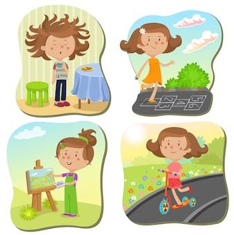 Meisjeskarakter op verschillende scènes op vakantie