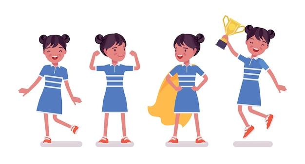 Meisjeskind van 7 tot 9 jaar oud, positief vrouwelijk zwart schoolkind