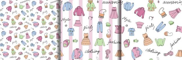 Meisjeskleding en belettering doodle srtiped naadloze patronen set