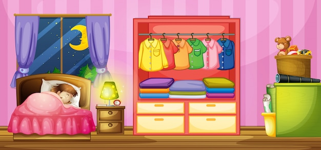 Meisjeslaap in slaapkamer