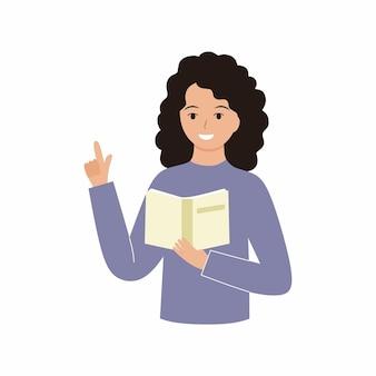 Meisjesleraar leest een boek en houdt haar vinger omhoog. vector plat karakter.