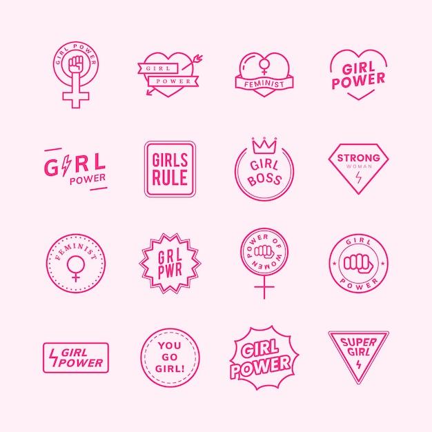 Meisjesmacht gemengde emblemen geplaatst illustratie