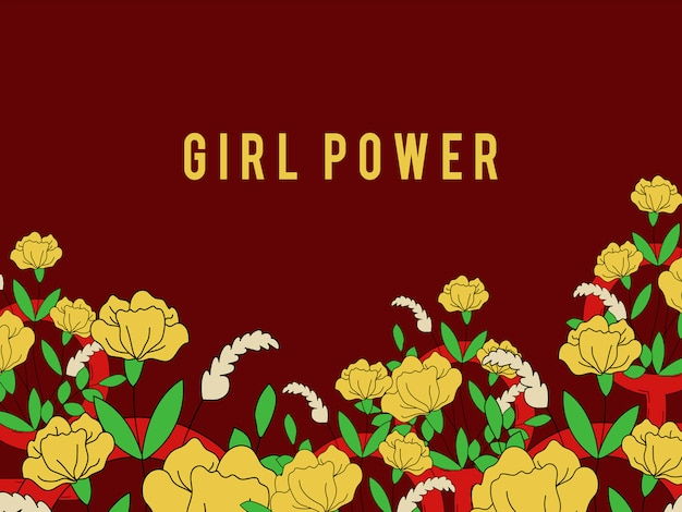 Meisjesmacht op bloemenachtergrond