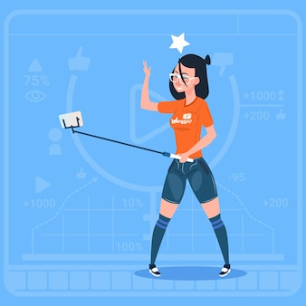 Meisjesstroom moderne videoblog met cel slimme telefoon