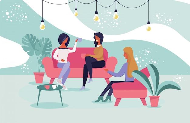 Meisjesvrienden die bij koffie vectorillustratie samenkomen.