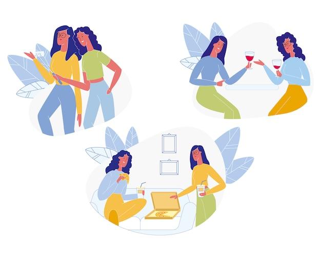 Meisjesvrienden vergadering. vriendschap, menselijke relaties