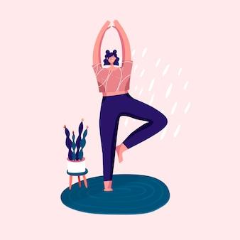 Meisjesvrouwen die yoga doen plant bloem geest en emoties controle gezondheidsactiviteit vector