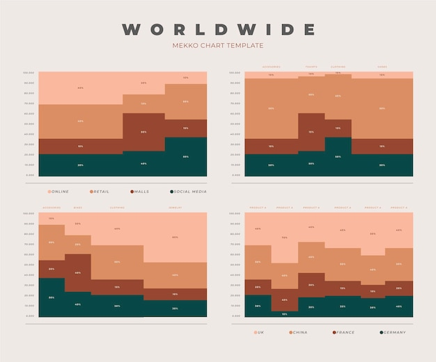Mekko grafieksjabloon infographic