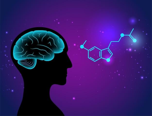 Melatonine chemische formule logo. controle van de slaap-waakcyclus. neurotransmitter en hormoon