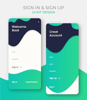 Meld u aan en meld u ui kit-ontwerp of welkom terug app-schermsjabloon