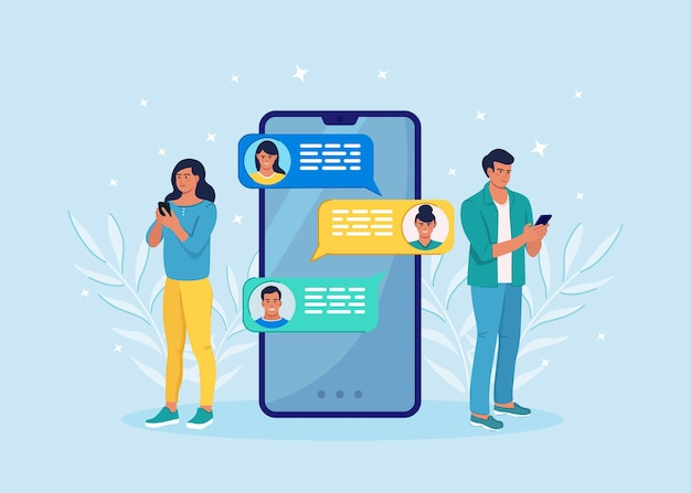 Melding van nieuwe chatberichten op mobiele telefoon. sms-bellen op het scherm van de mobiele telefoon. mensen aan het chatten