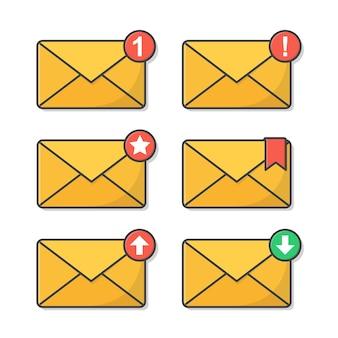 Meldingsbericht of e-mailillustratie. mail envelope notification in vlakke stijl
