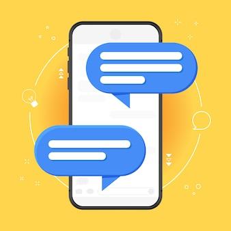 Meldingsbericht voor mobiele telefoon op gele achtergrond. illustratie geïsoleerd op gekleurde achtergrond, smartphone en chat-tekstballon, concept van online gesprek, praten, gesprek.