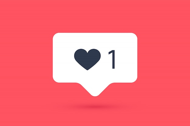 Meldingspictogram zoals, tekstballon. als icoon met hart