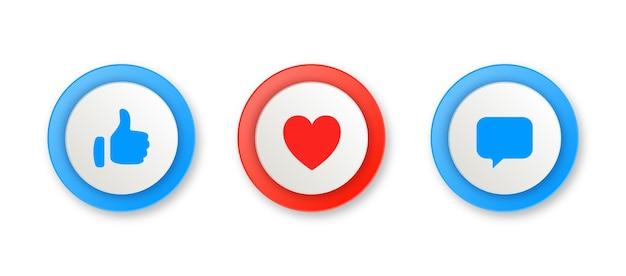 Meldingspictogrammen in ronde cirkel zoals symbolen voor liefdescommentaar of duimen omhoog en hartknoppen