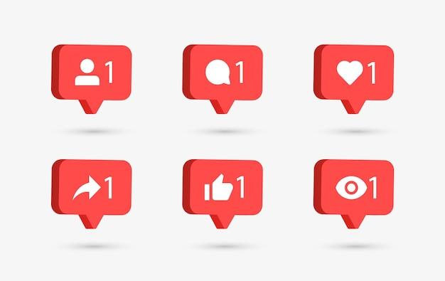 Meldingspictogrammen voor sociale media in 3d-tekstballonnen zoals liefdescommentaar delen volger gezien