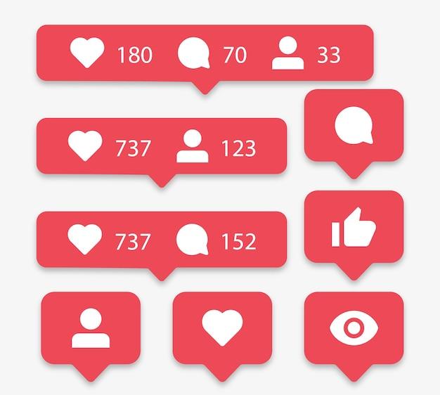 Meldingspictogrammen voor sociale media in tekstballonnen zoals liefdescommentaar delen volger gezien Premium Vector