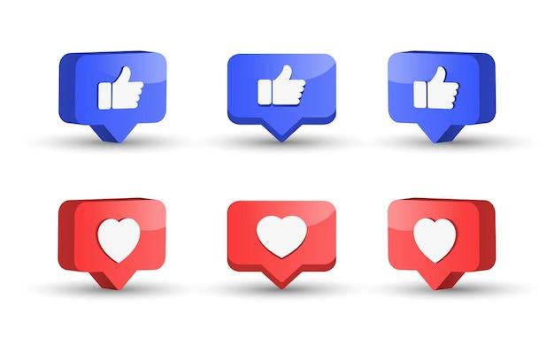 Meldingspictogrammen voor sociale media zoals liefdesknoppen in 3d-spraakballon duimen omhoog met hart